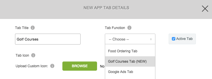Golf Courses Tab