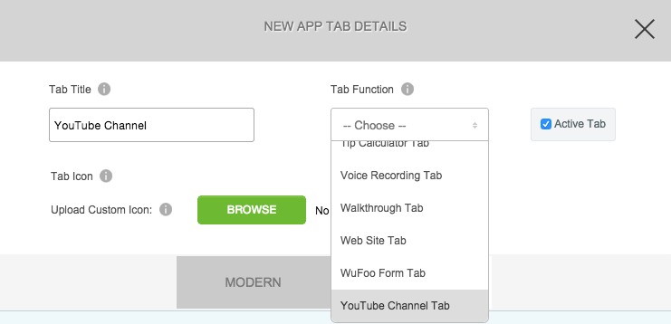 Youtube Canal Tab