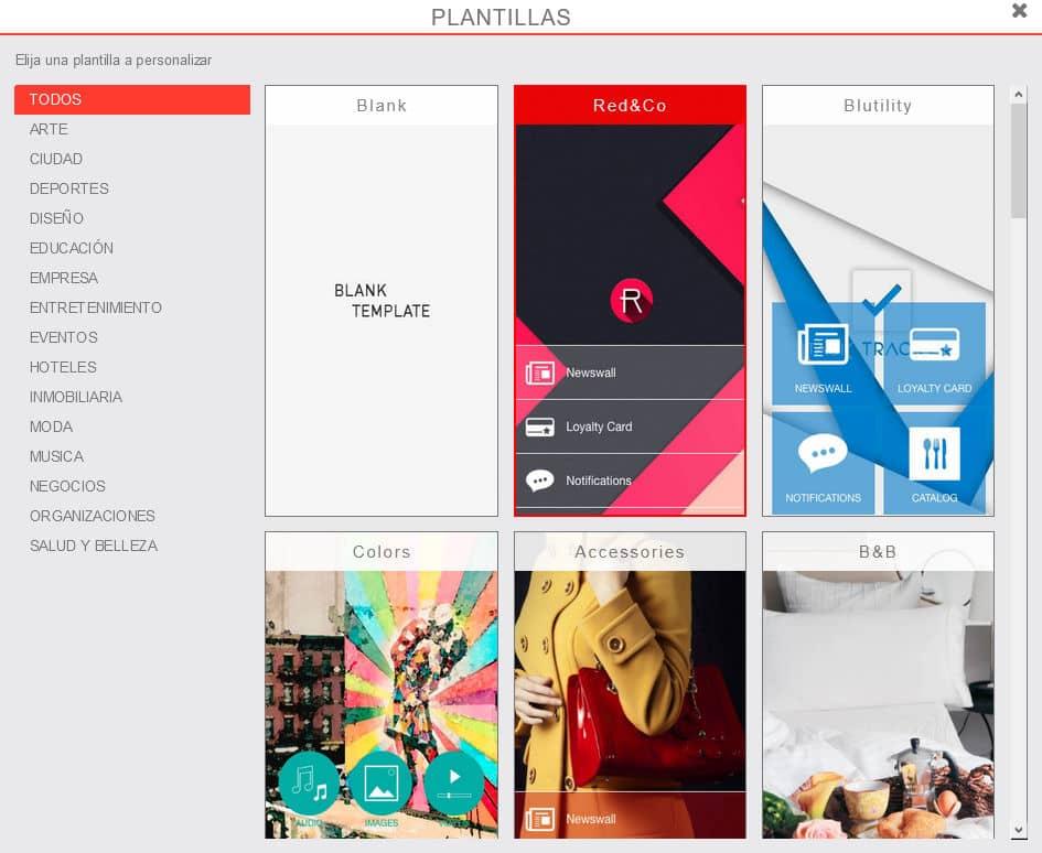 plantilla creador de apps